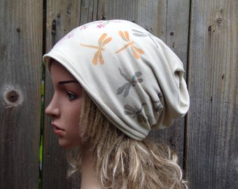 HAND PAINTED Women Ladies Beanie Hat Slouchy Hat Cotton Hat Head Covering for Women Chemo Hats Cancer Hats Chamois Headwear for Women