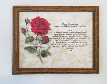 15th Anniversary Gift, For Wife, Personalized, Love Poem, Frame Included, Party Decor, 2002 Gift, Wedding Anniversary