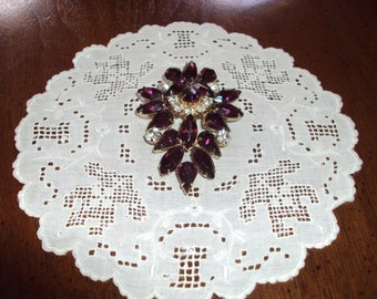 Vintage Faux Diamond and Amethyst  Pin