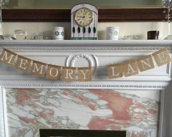 MINI MEMORY LANE burlap banner.  Garland bunting   Handmade with love.