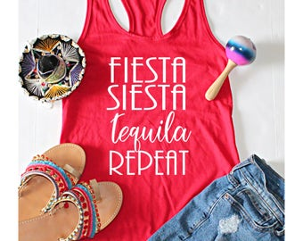 Cinco De Mayo Fitted Racerback Tank Top, XS-2XL, Bachelorette Party Shirts, Fiesta Siesta Tequila Repeat, Wine Tasting Trip, Gift