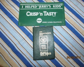 Vintage Advertising Pieces 1981 Westinghouse Notes & Data Notebook And Jerry Lewis Telethon Checkbook Cover Jerry's Kids