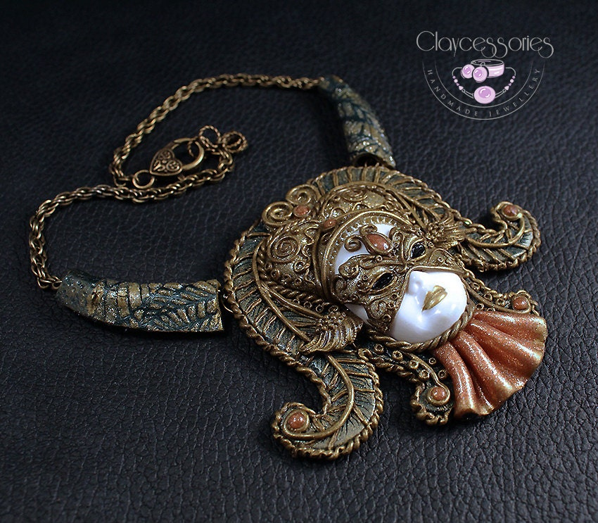Statement Mask Necklace / Venetians Mask / Mack jewelry / Bib necklace / Medieval necklace / Theater necklace /Polymer clay jewelry