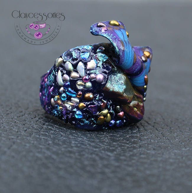 Butterfly Ring / Butterfly jewelry / Statement ring / Agate Druzy ring  / Adjustable ring / Art ring / Big ring /Polymer clay ring