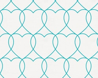 Teal Sweetheart Organic Fabric - By The Yard - Girl / Boy / Gender Neutral