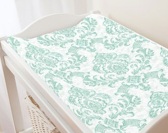 Carousel Designs Mint Painted Damask Changing Pad Cover