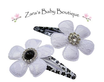 Black and White Hair Clips, Baby Girl Clips, Toddler Clips, Flower Hair Clip, Baby Hair Clips, ZBB