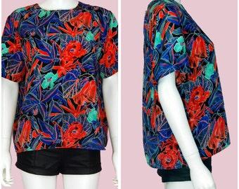 Vintage Silk Satin Colorful Blouse 1980s Floral Print Top
