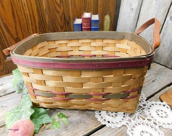 Vintage Gerald Henn Workshop 2 Handle Carrying Basket