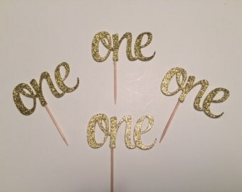 First Birthday Cupcake Toppers, ONE Cupcake Toppers, Gold Glitter ONE Cupcake Toppers, 1st Birthday Decor, Cupcake Topper, One Toppers