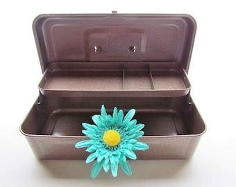 Vintage Metal Storage Box, Tool Box, Artist Box, Cash Box