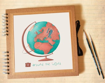 Travel Photo album - Kraft square scrapbook with illustration, customizable