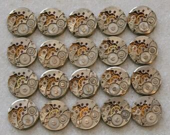 "5/8"" .  20  Similar  Vintage Soviet Watch movements , steampunk parts , cuff links supplies , clockwork movements"