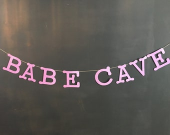 BABE CAVE Banner - babe cave glitter banner - babe cave decor - apartment decoration - purple babe cave - dorm decoration - dorm banner