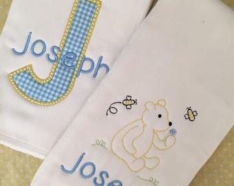 BabyPersonalized Burp Cloth Set-Honey Bear, Baby shower gift, monogrammed baby gift