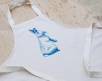 Blue peering rabbit cotton childrens apron, country style chic