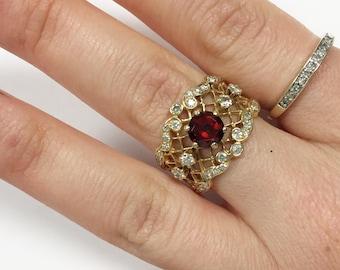 Vintage Gothic Victorian Wedding Ring Garnet and Diamond 14k - Size 7