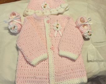 Pink Baby Sweater Set