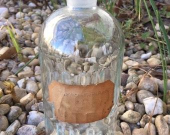 Vintage Chemistry Bottle-1960s-Raised Letters On Bottle-Paper Label-Glass Bottle-Apothecary Bottle-CON ACID NITRIC HNO3-no stopper