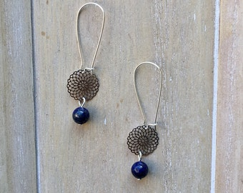 Long kidney earwires with filigree circle and lapis lazuli bead