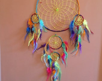 "12"" Dream Catcher,Chakra Web w/stones,Large multi color,Reiki Charged, Legend, Native, Hand Wrapped,Dreamcatcher, Energy Healing, Protection"