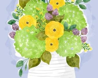 Hydrangea Bouquet - floral art print