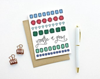Valentines Day Card - You're A Gem | Friendship, Thank You, Pen Pal, Just Because, Birthday, You're The Best, Teacher Card