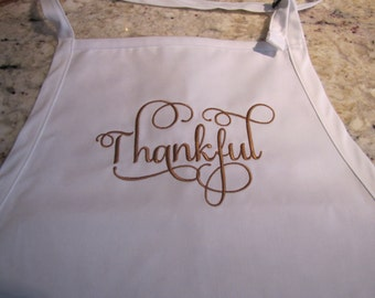 Thankful Embroidered Full Length Apron with 3 Pockets adjustable at the neck
