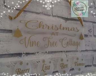 Beautiful personalised christmas hanging plaque