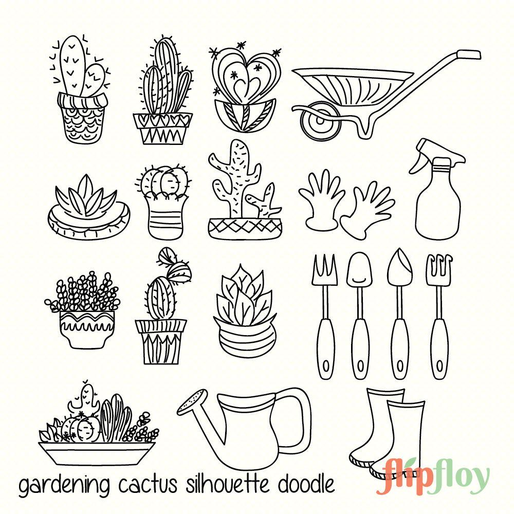 decorative doodle cactus silhouette instant download 19 style