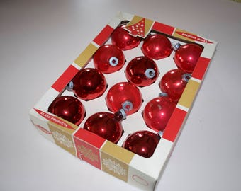 "Vintage Red Glass Ball Christmas Ornaments Box Set of 12 2.5"" by Coby"
