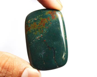 High Quality Natural Red And Green Bloodstone Rectangle Cabochon, Size 44X29X7 MM, Pendant Stone Jewelry Supplies, Meditation Stone, AG-4516