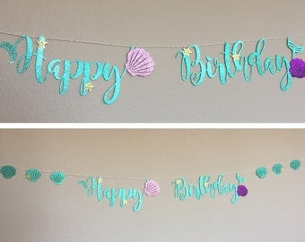 Happy Birthday banner, Little Mermaid Ariel, Mermaid Script Cursive Letters, Party Decor, starfish, Sea Shells