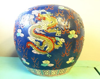 Large Hand Painted and Signed Asian Vase with Dragon Motif
