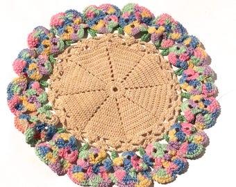 Vintage 1940s Multicolored Crocheted Doilie Potholder with Pastel Rim, Six inch Diameter