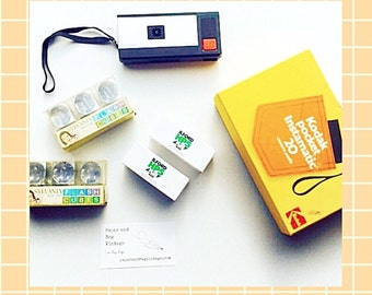 70s Kodak Instamatic SET: includes camera, original box, two packs of flash cubes and two NEW rolls of B/W 110 film