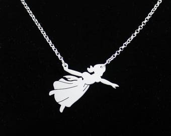 Wendy Darling necklace, Sterling Silver Peter Pan Pendant, Neverland necklace, Handmade Peterpan Jewelry Solid Sterling Silver, Fairies