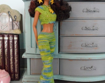 Crochet Barbie Clothes Barbie Doll Clothes Handmade Retro Hipster Funky Bell Bottom Pants, Crop Top, Rasta Hat & Starfish Jewelry