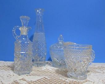 Wexford Serving Dishes ~ Anchor Hocking Diamond Cut Pattern ~ Set of 4 ~ Sugar Bowl ~ Cream Pitcher ~ Cruet ~ Vase ~ 1960's ~ Shabby Chic