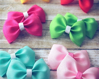 """Spring Summer Colourful Hair Bows, Baby Girls Hair Bows, Toddler Hair Bows, Hair Clips, 4"""" Hair Bows, Spring Easter Hair Bows, Pink Blue Bow"""