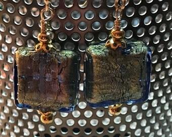 Sapphire and 24K Gold Foil Venetian Glass Earrings