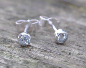 Aquamarine dainty Aqua Blue Sterling Silver Stud Post Earrings March Birthstone Gift 3mm Birthday Present
