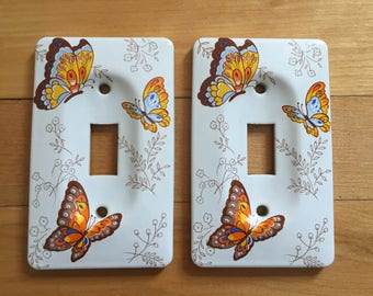 Vintage 1970s Ceramic Butterfly Light Switchplate Covers!