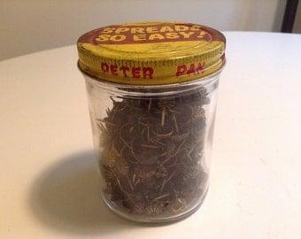 "Vintage Peter Pan Jar filled with Upholstery Studs/Tacks. Peter Pan Peanut Butter Jar ""Spreads So Easy"". Retro, Industrial, Advertising.'50s"