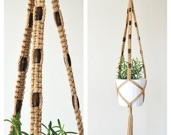 Plant Hanger // Hanging Planter // Macrame Plant Hanger with Beads // Hanging Pot Holder // Jute Plant Hanger with Beads / #26