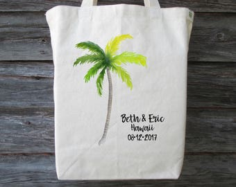 Destination Wedding Tote Bag, Palm Tree Wedding Tote, Wedding Welcome Bag, Palm Tree Tote, Wedding Gift Bag, Hawaii Tote, Wedding Bag