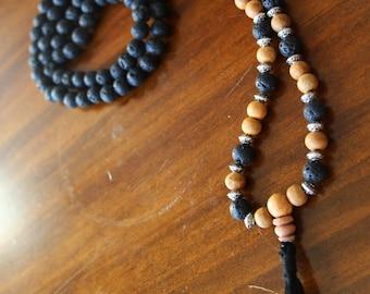 Sandalwood and Lava Stone Japa Mala Necklace