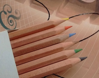 6 top quality natural wood colouring pencils