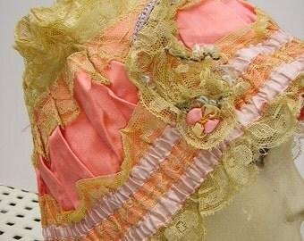 Fabulous 1920's Flapper Girl French Net Lace Ribbonwork Boudoir Night Cap Bonnet