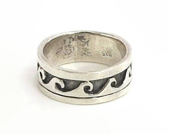 Sterling silver ring with oxidised wave pattern, stamped 925, size N.5 - UK / 7 - US